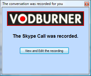 Skype Video Call was recorded notification