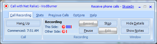 VodBurner Call Window